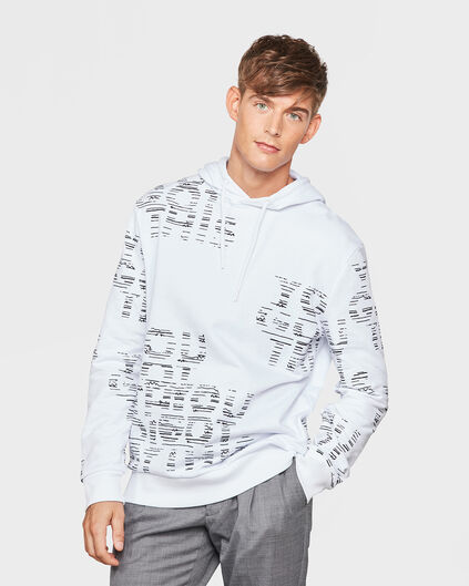 HEREN TYPHOON HOODED SCRIBBLE SWEATER Wit