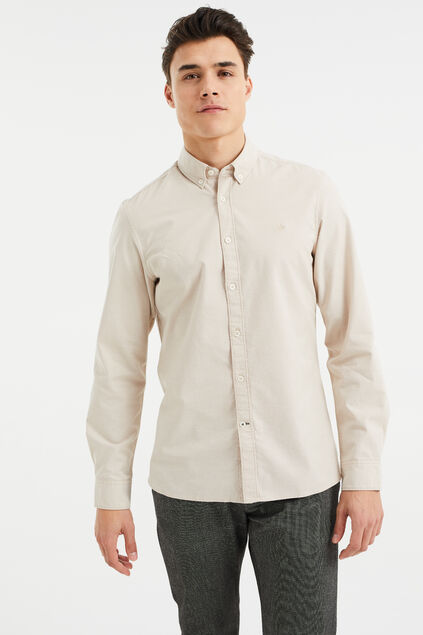 Chemise slim fit homme Beige