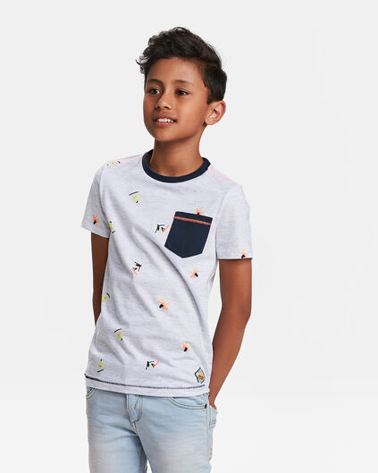 T-SHIRT ONE POCKET MELANGE PRINT GARÇON Blanc