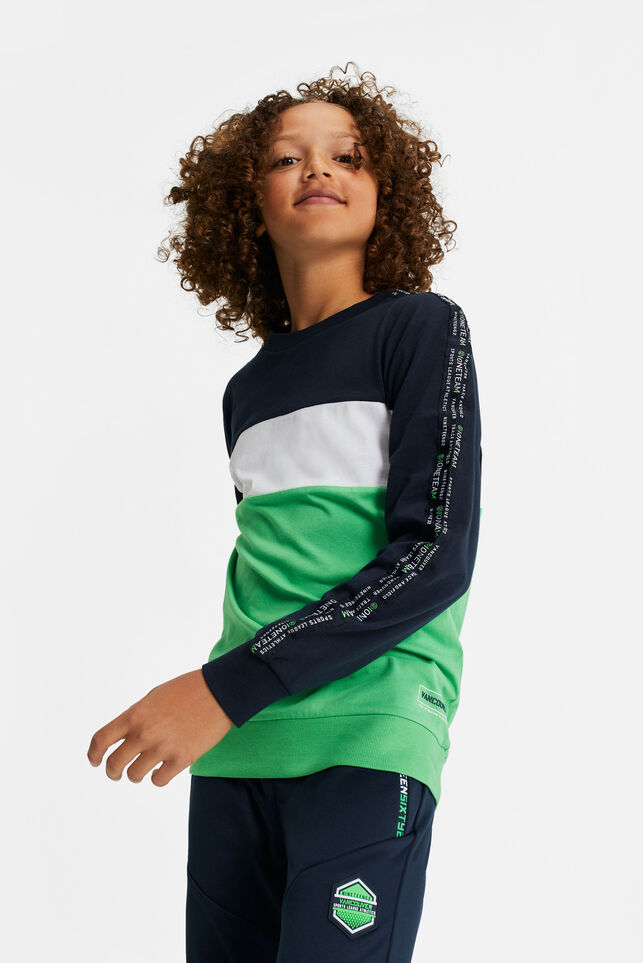 Jongens T-shirt met colourblock en tapedetail Donkerblauw