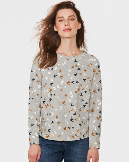 DAMES SWALLOW PRINT SWEATER Grijs