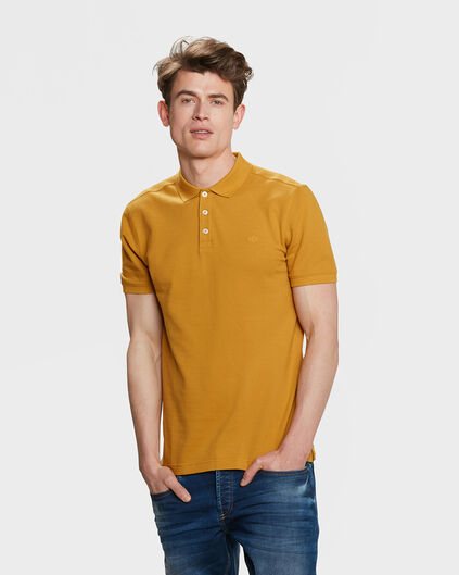 HEREN ORGANIC COTTON PIQUÉ POLO Okergeel