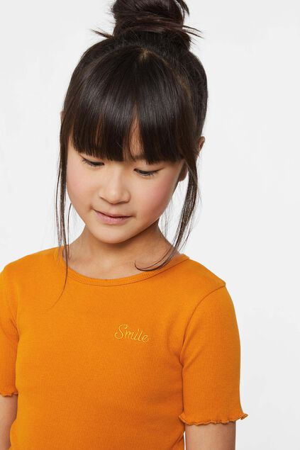 T-shirt de tissu côtelé fille Orange