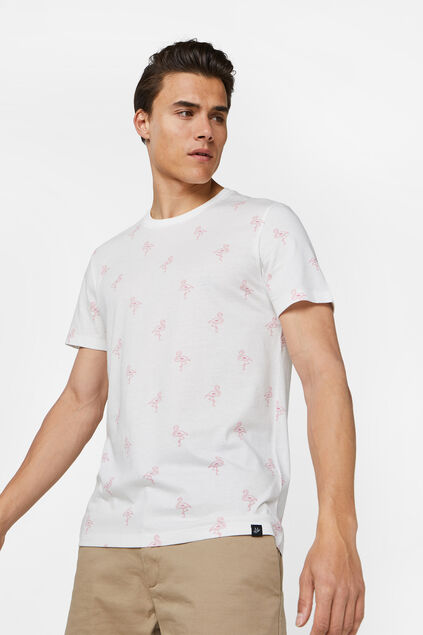 Heren T-shirt met flamingodessin Wit