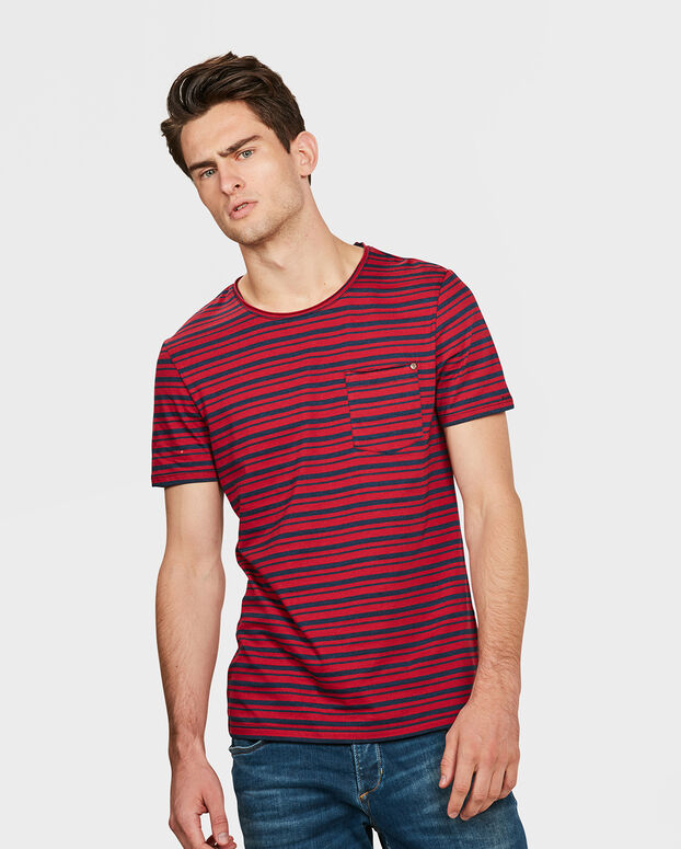 T-SHIRT R-NECK STRIPED HOMME Rouge