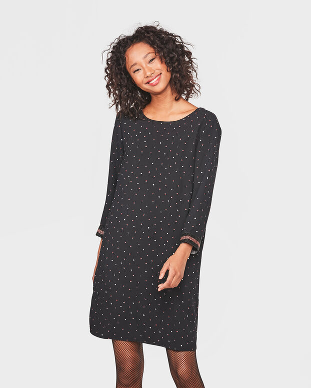 DAMES DOT PRINT DRESS Zwart