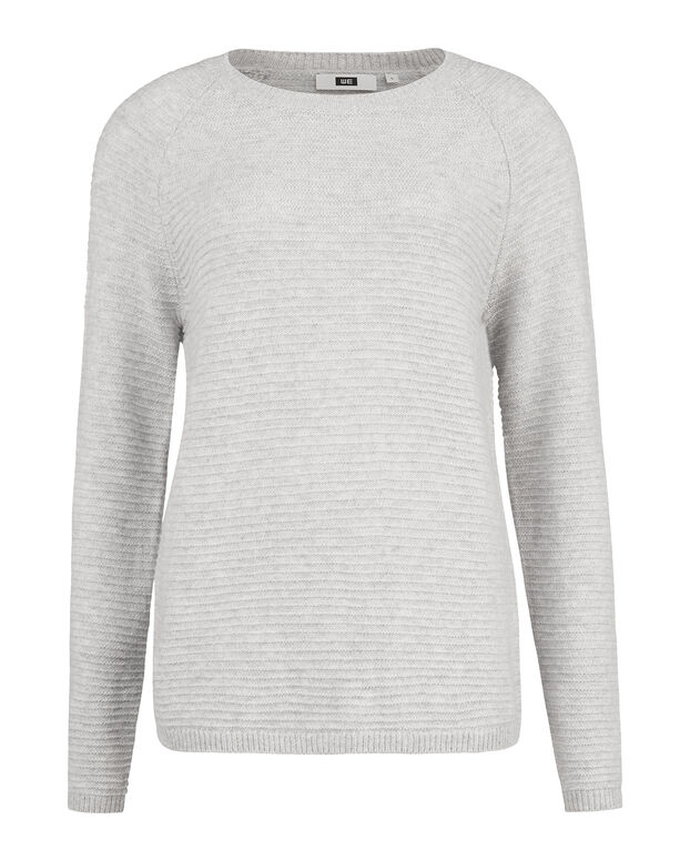 PULL BOXY FIT RIB FEMME Gris