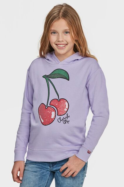 MEISJES CHERRY HOODED PAILLETTEN SWEATER Lila