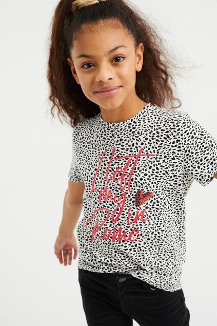 T-shirt à application, paillettes et motif fille Imprimé