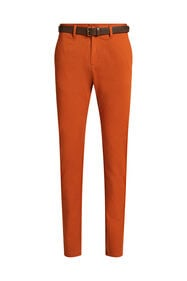 Heren uni slim fit chino_Heren uni slim fit chino, Roestbruin