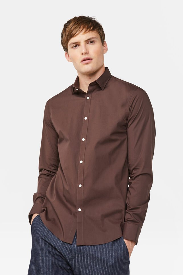 Chemise slim fit stretch homme Brun