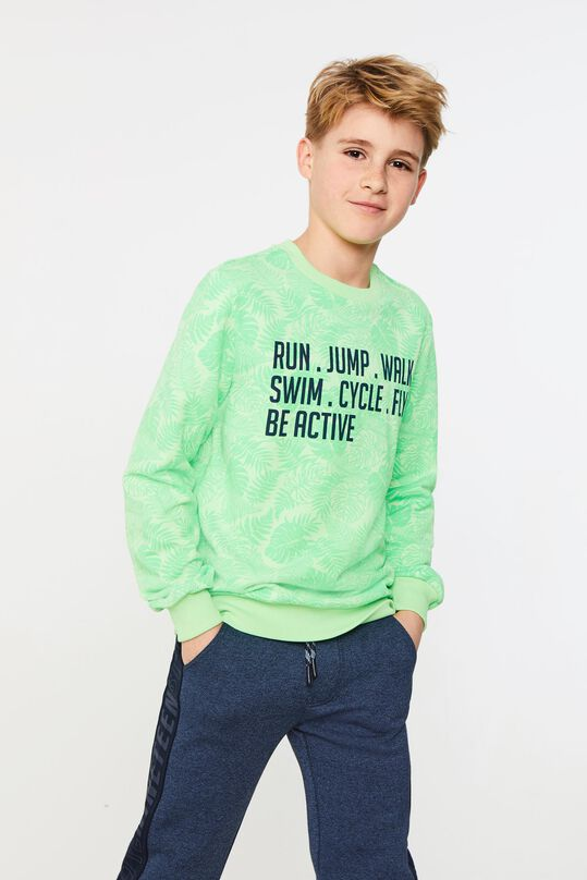 Jongens neon sweater met tekstopdruk All-over print