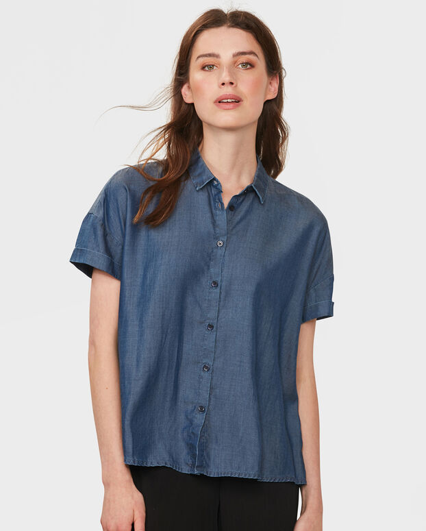 DAMES LYOCELL DENIM BLOUSE Blauw
