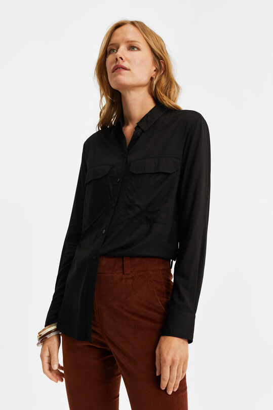 Dames blouse in utility look Zwart