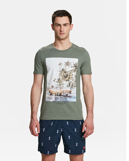 HEREN MR. FREEDOM PRINT T-SHIRT Legergroen