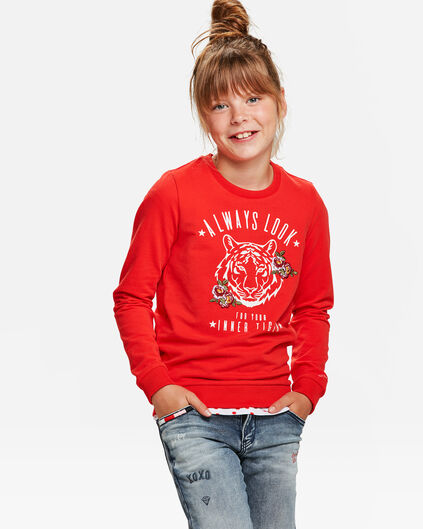 SWEAT-SHIRT MOTIF TIGRE FILLE Rouge vif