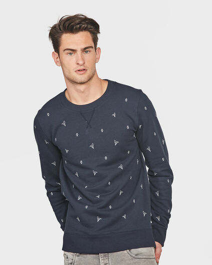 HEREN MELANGE SWEATER Donkerblauw