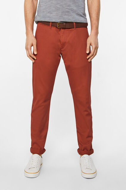 Heren uni slim fit chino Rood