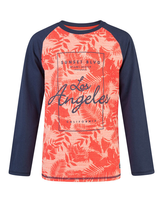 T-SHIRT RAGLAN ALL-OVER PRINT GARÇON Orange