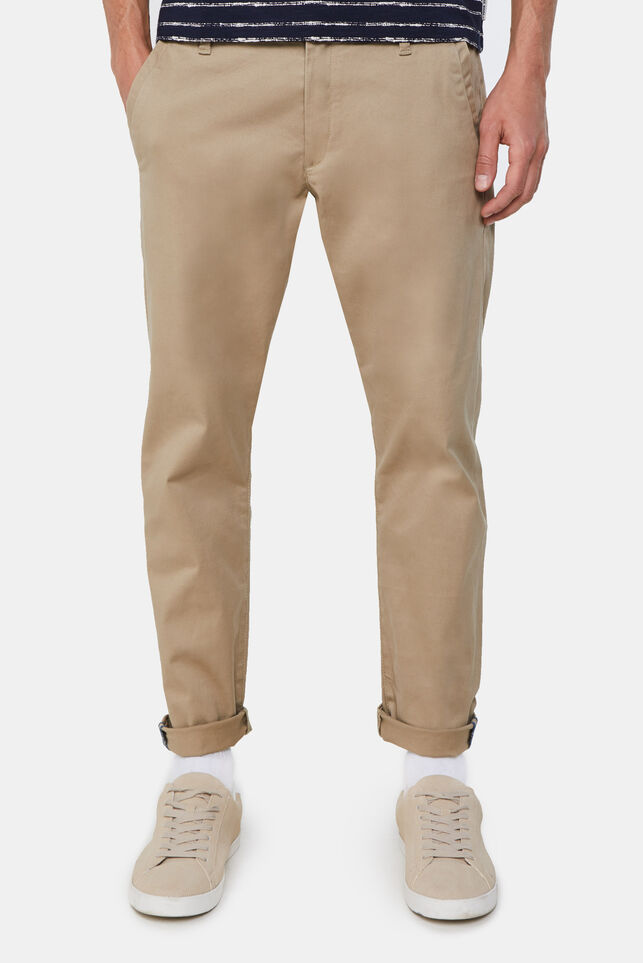 Heren slim fit chino met stretch Beige