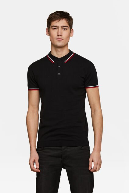 Heren knit polo Zwart