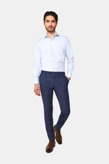 Heren slim fit geruite pantalon Celso All-over print