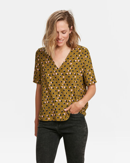 DAMES PRINT TOP Legergroen