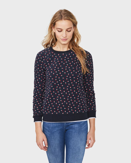 DAMES HEART PRINT SWEATER Donkerblauw