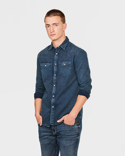 HEREN RELAXED FIT DENIM OVERHEMD Marineblauw