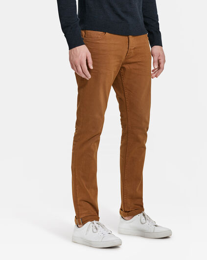 HEREN SLIM TAPERED BROEK Kaneelbruin
