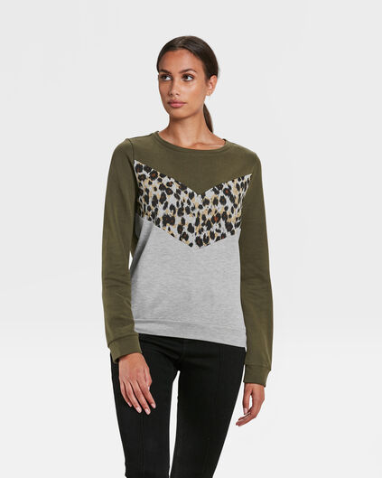 DAMES SPORTY ANIMAL STRIPE SWEATER Groen