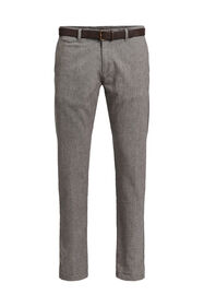 Heren gemêleerde slim fit chino_Heren gemêleerde slim fit chino, Bruin