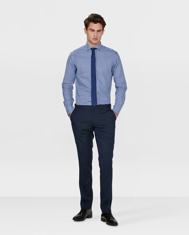 HEREN SLIM FIT FINEST COTTON OVERHEMD Felblauw