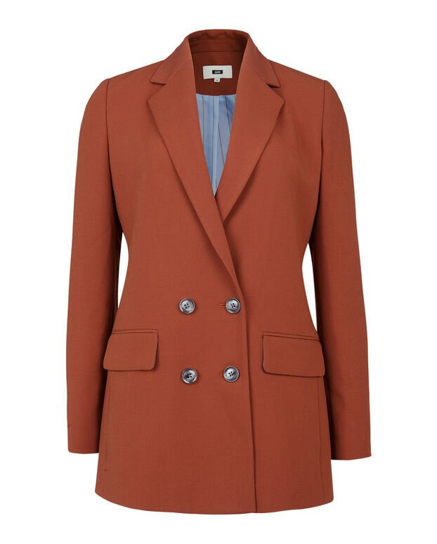 DAMES LOOSE FIT DOUBLE BREASTED BLAZER Roestbruin
