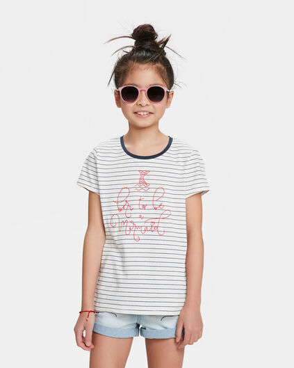 T-SHIRT MERMAID STRIPE PRINT FILLE Blanc
