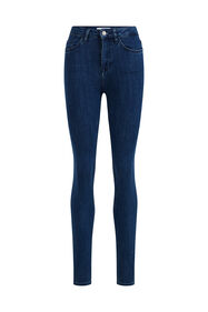 Dames high rise skinny jeans met stretch_Dames high rise skinny jeans met stretch, Donkerblauw
