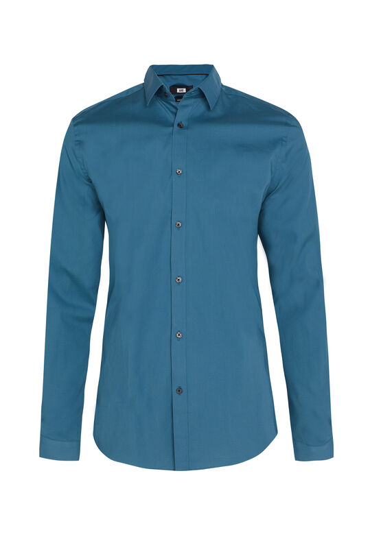 Heren slim fit overhemd met stretch Turquoise