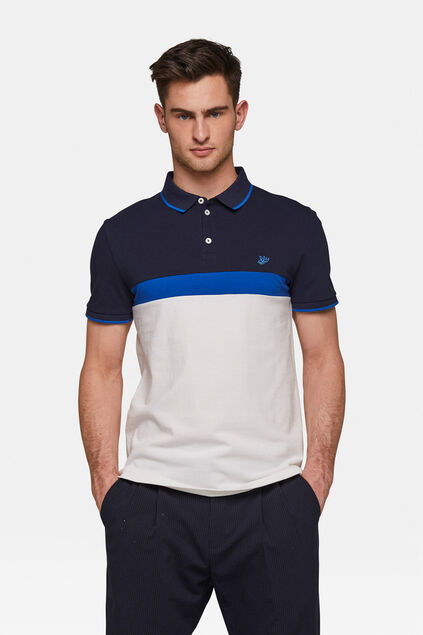 Heren colourblocking polo Wit