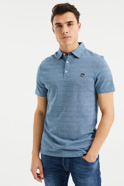 Heren polo met all-over jacquarddessin Blauw