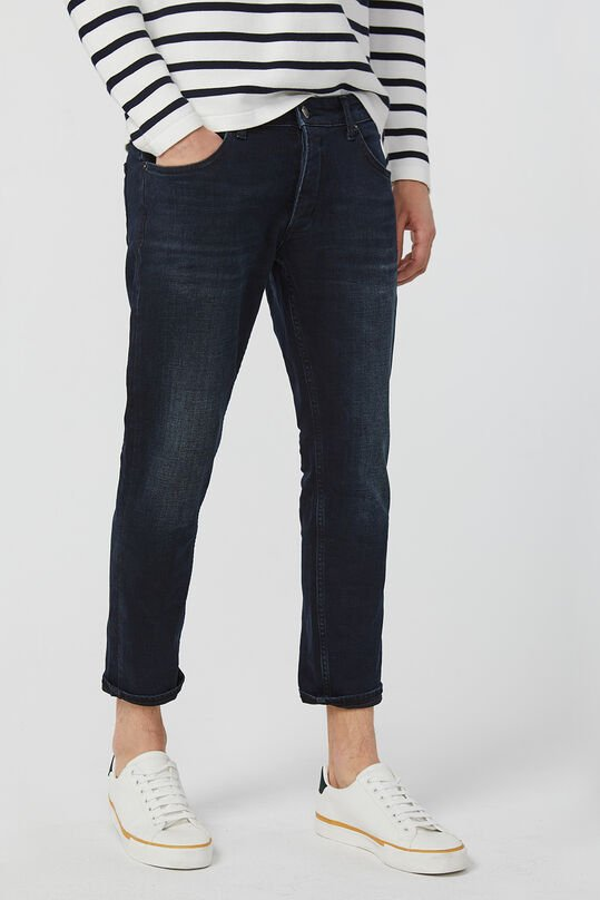 Heren slim tapered cropped comfort stretch jeans Donkerblauw