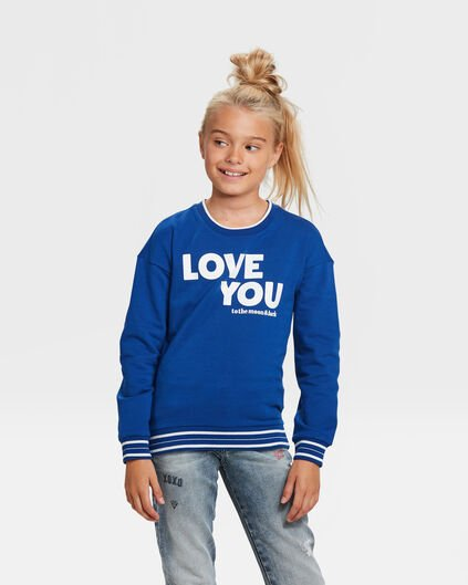SWEAT-SHIRT LOVE YOU FILLE Bleu foncé