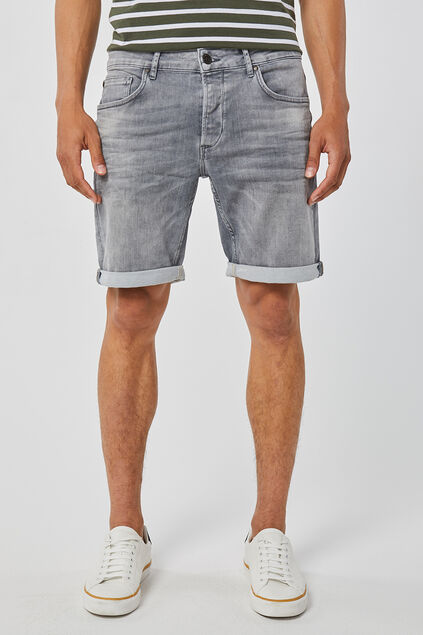 Heren regular fit jog denim short Grijs