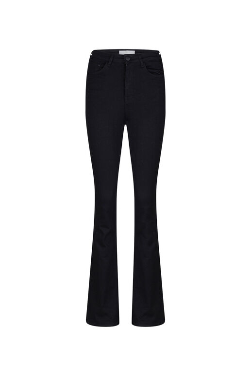DAMES HIGH RISE FLARE HIGH STRETCH JEANS Zwart