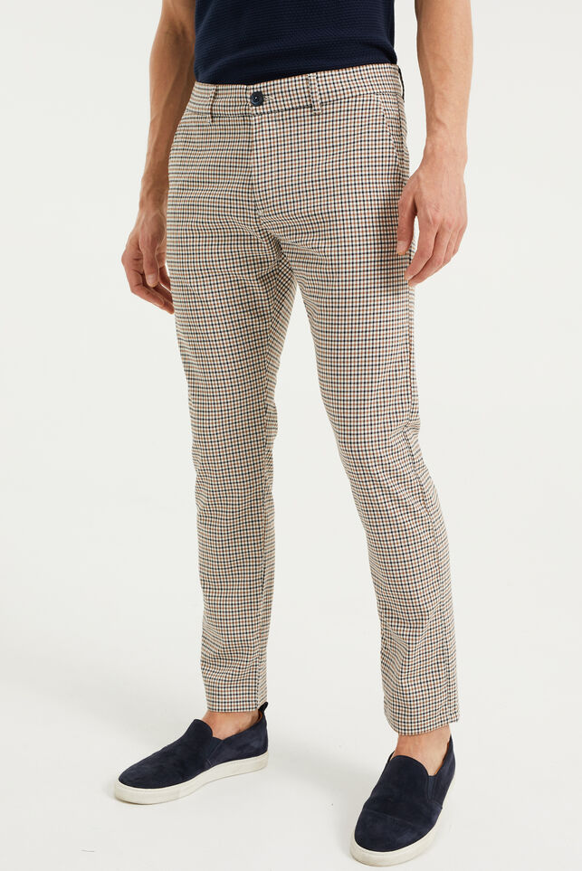 Heren slim fit chino met ruitdessin Multikleur