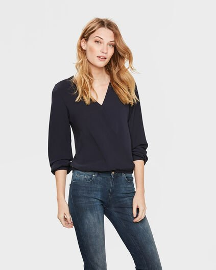 DAMES WRAP BLOUSE Donkerblauw