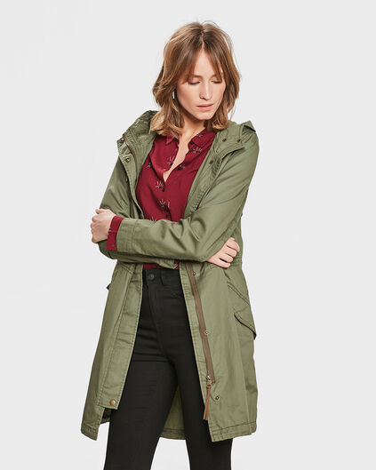 DAMES LONG PARKA Olijfgroen