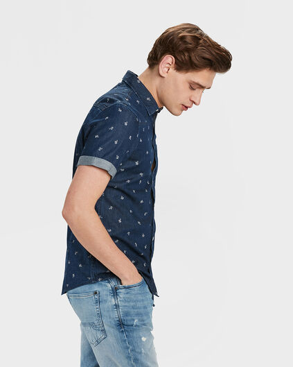 HEREN SLIM FIT DENIM PALMBOMEN OVERHEMD Donkerblauw