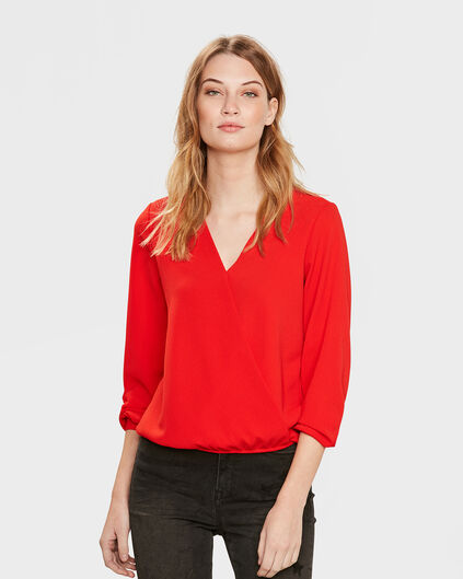 DAMES WRAP TOP Rood
