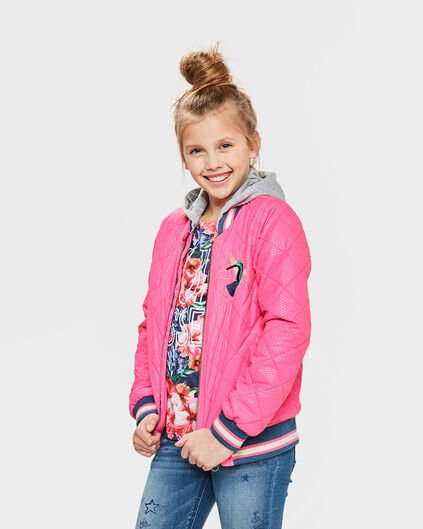 MEISJES QUILTED NEON BOMBER Roze