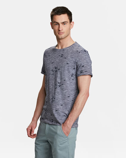 HEREN VOGEL PRINT T-SHIRT Marineblauw